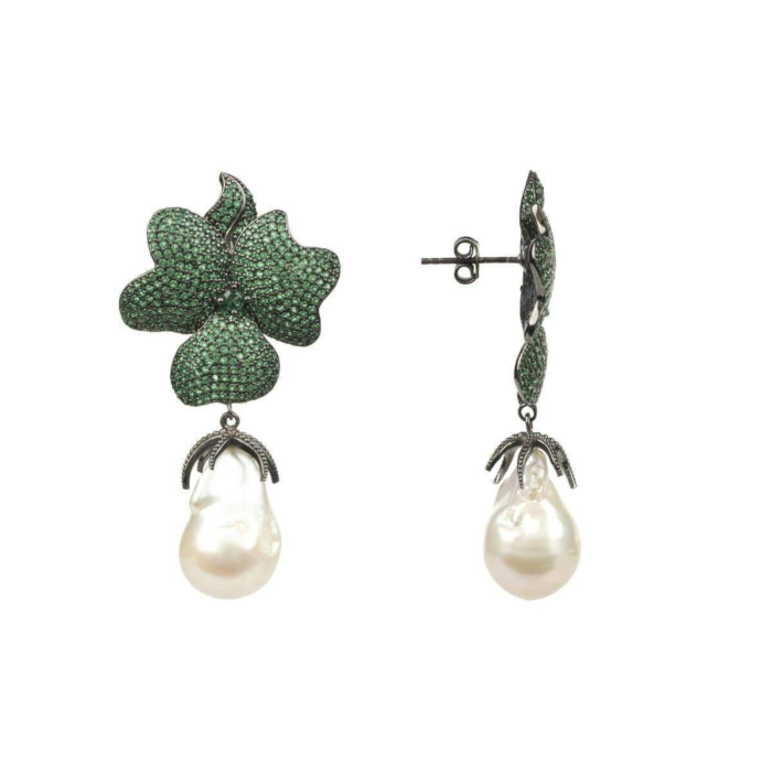 Oxidised Silver Green Flower Baroque Pearl Drop Earrings