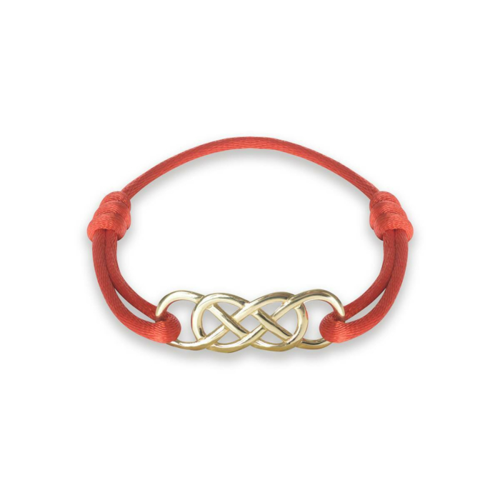 Yellow Gold Infinity Ibiza Bracelet With Red Ribbon | INFINITY by Victoria