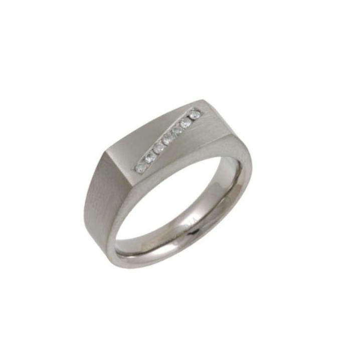 Titanium & Diamonds 7mm Signet Wedding Ring