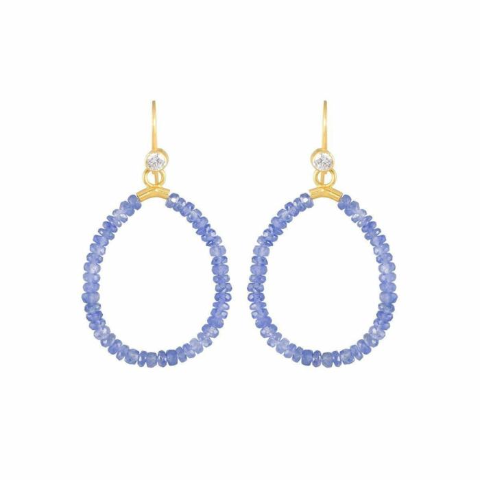 Gold & Sapphire Azur Drop Earrings | juniimjuli