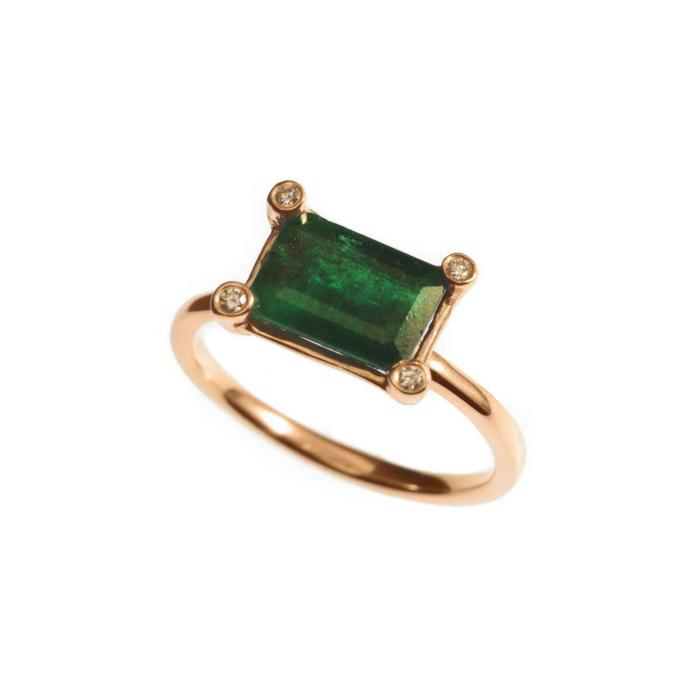 Rose Gold Emerald Ring | Ileava Jewelry