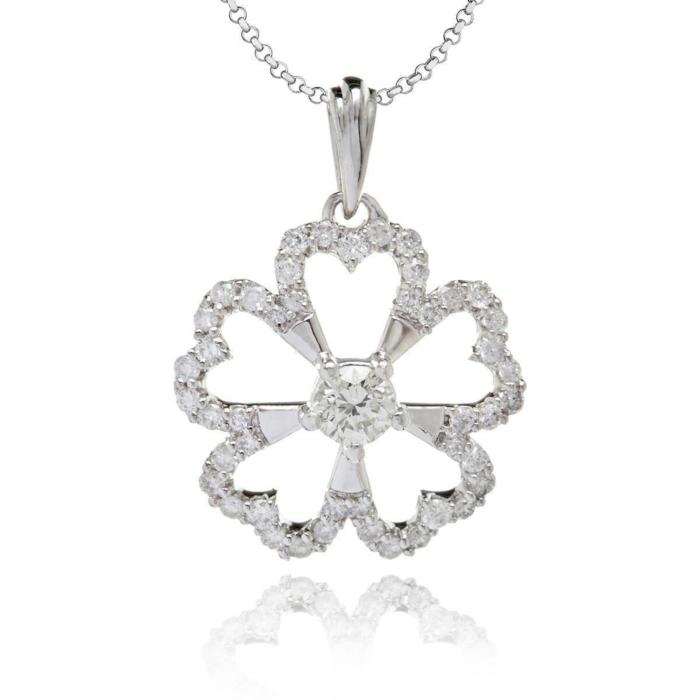 White Gold & Diamond Studded Flower Pendant | Kaizarin