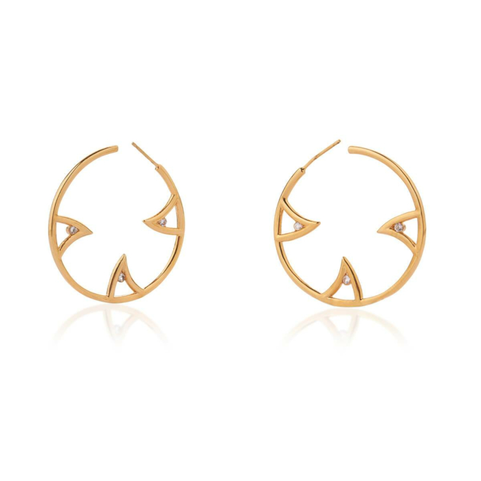 Yellow Gold Vermeil Sharch Hoop Earrings With White Sapphire