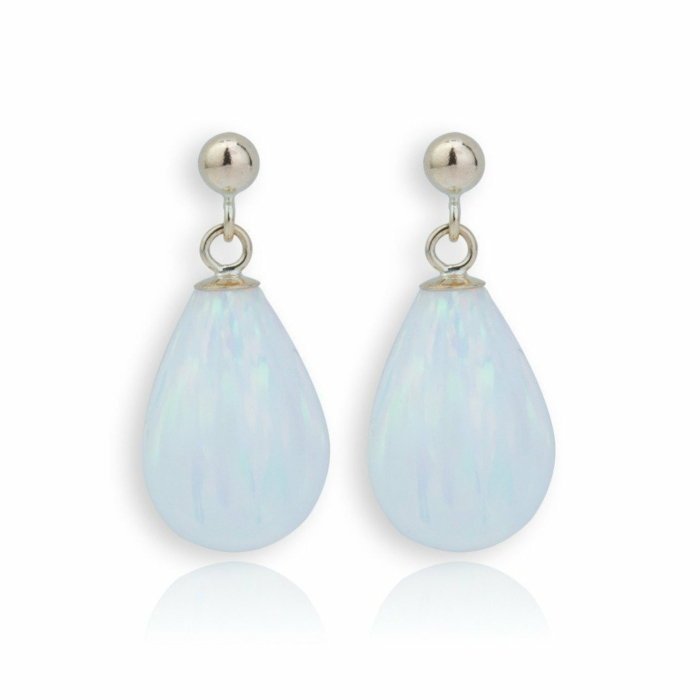9kt Gold & Large White Opal Teardrop Earrings