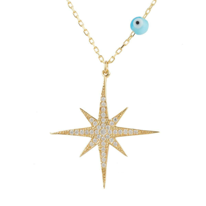 Yellow Gold Plated Starburst Opalite Evil Eye Necklace