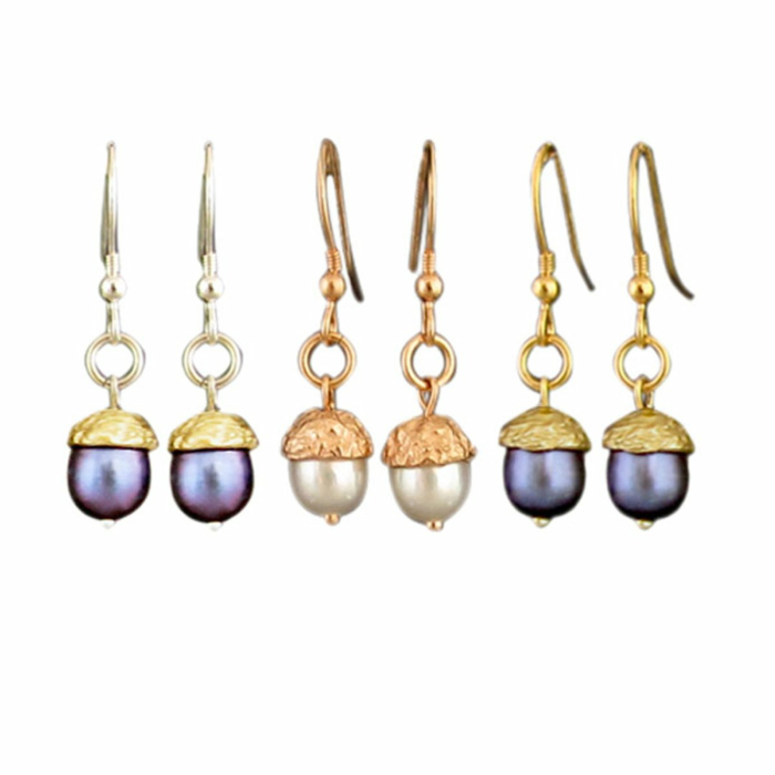 18kt Gold Vermeil & Silver Acorn Hook Earring - Medium