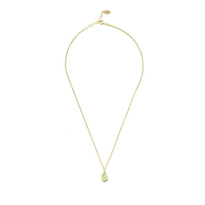 Pisa Mini Teardrop Necklace Gold Aqua Chalcedony