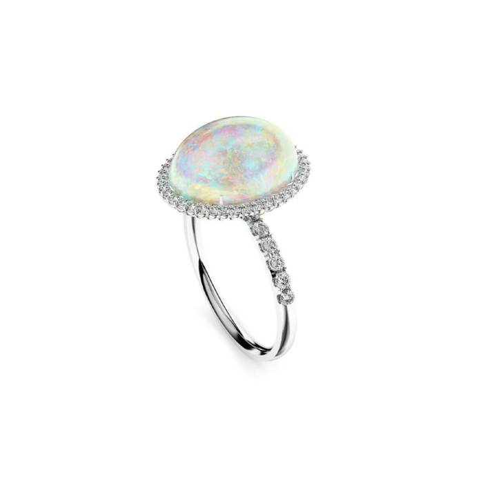 18kt White Gold, Diamond & Crystal Opal Ring