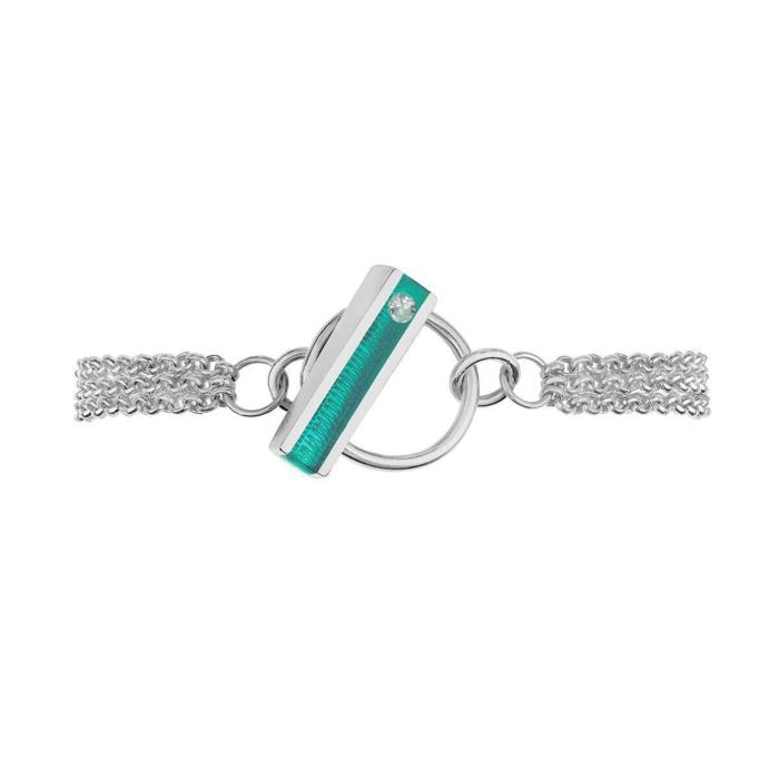 Silver Hop Bracelet With Marine Resin