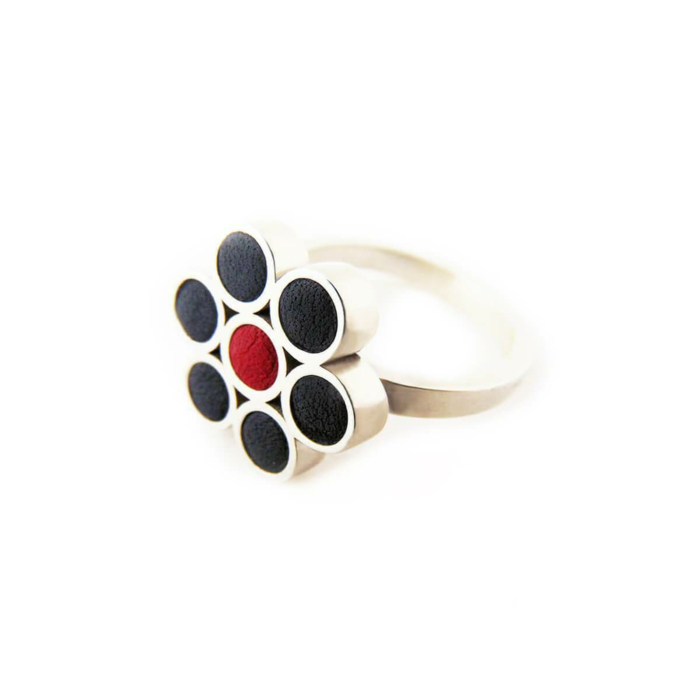Sterling Silver & Leather Poppy Ring