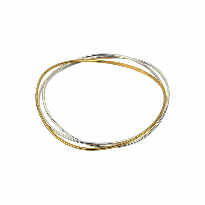 Wave Bangle Cluster - Two Silver, One Vermeil