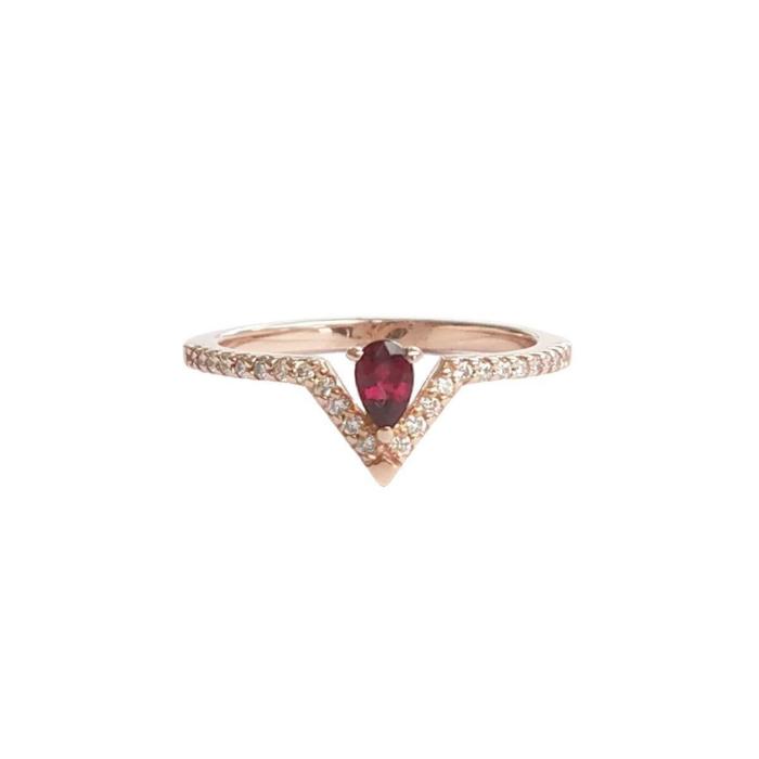 Pear Ruby & Diamond Ring
