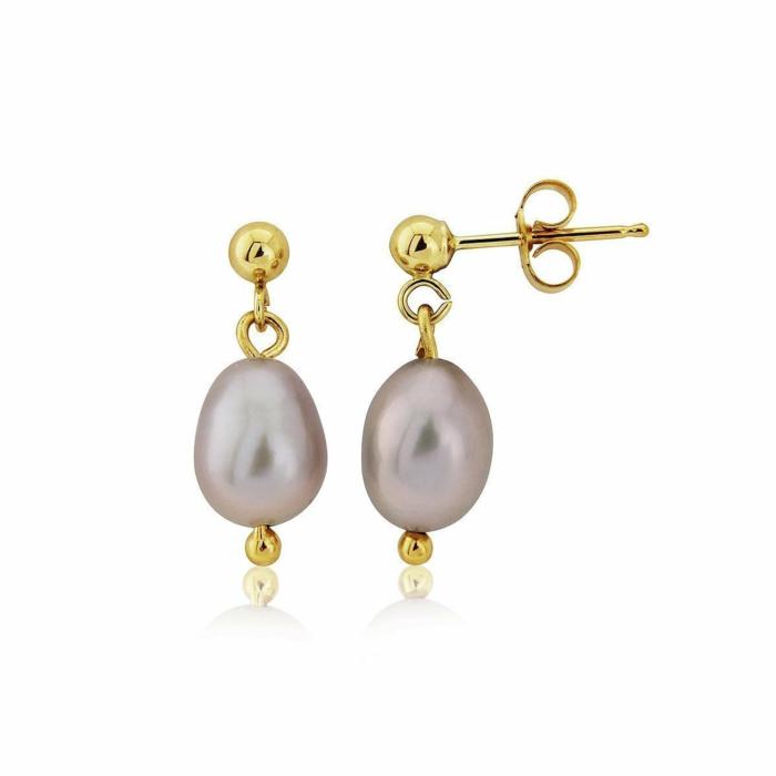 9kt Gold & Grey Pearl Drop Earrings