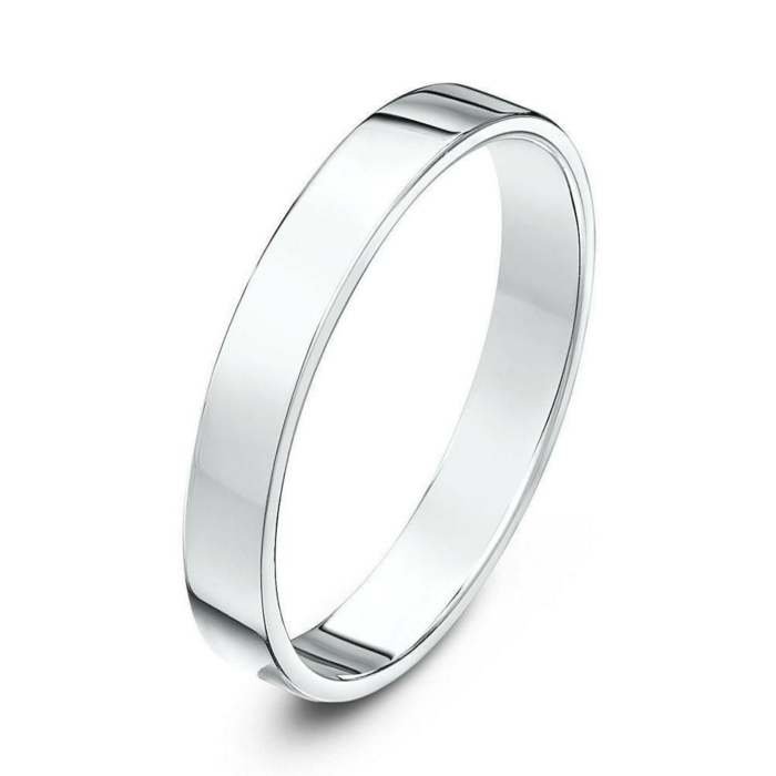 18kt White Gold Heavy Flat Court Shape Wedding Ring