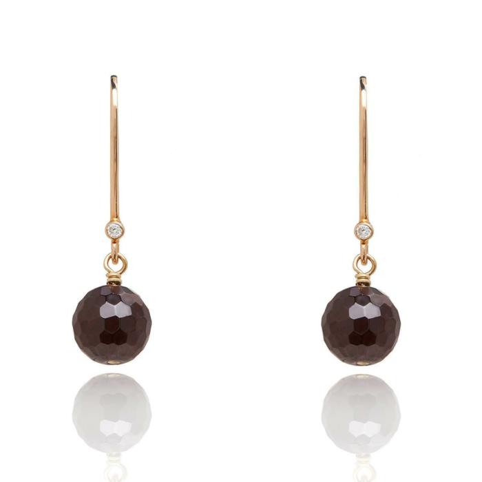 18kt Gold Drop Earrings In Garnet - January Birthstone