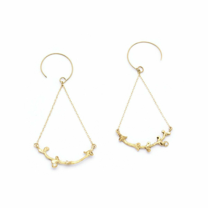Gold & Diamond Garni Swing Earrings | Ileava Jewelry