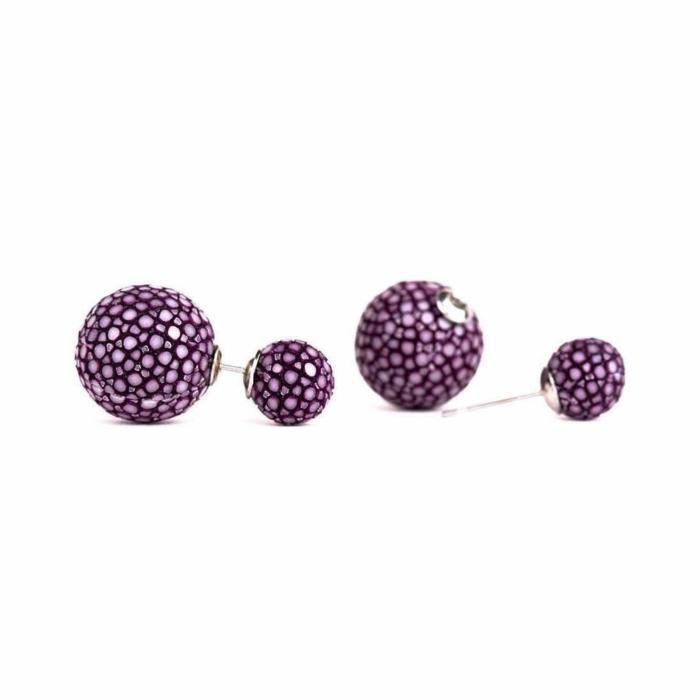 Beth Purple Stingray Leather Earrings
