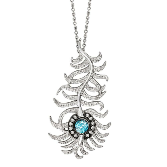 Portobello White Gold Diamond and Blue Zircon Peacock Pendant