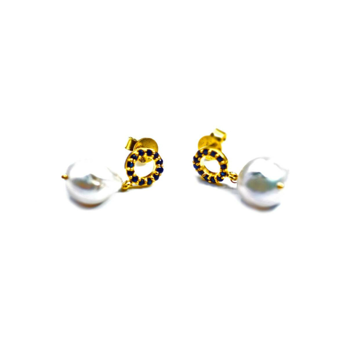 14kt Yellow Gold Baroque Pearl & Sapphire Earrings