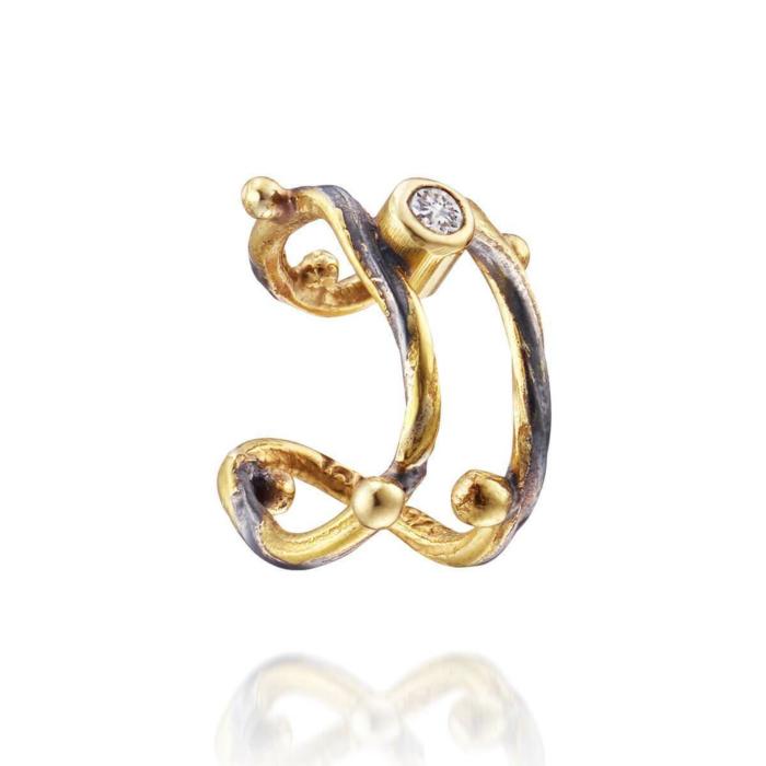 Gold Seafire Ear Cuff With Champagne Diamond | Bergsoe