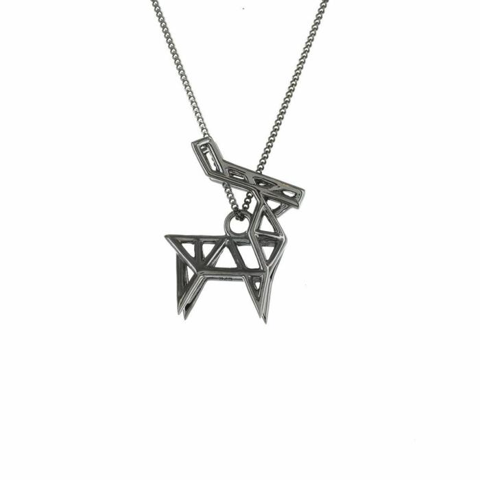 Black Silver Frame Deer Black Silver Origami Necklace