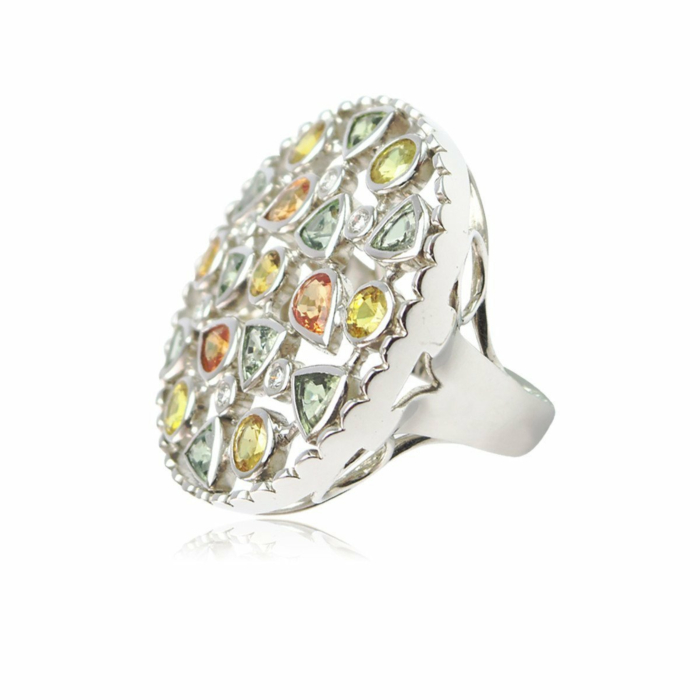 Divine Disarray Round Fancy Sapphire Ring