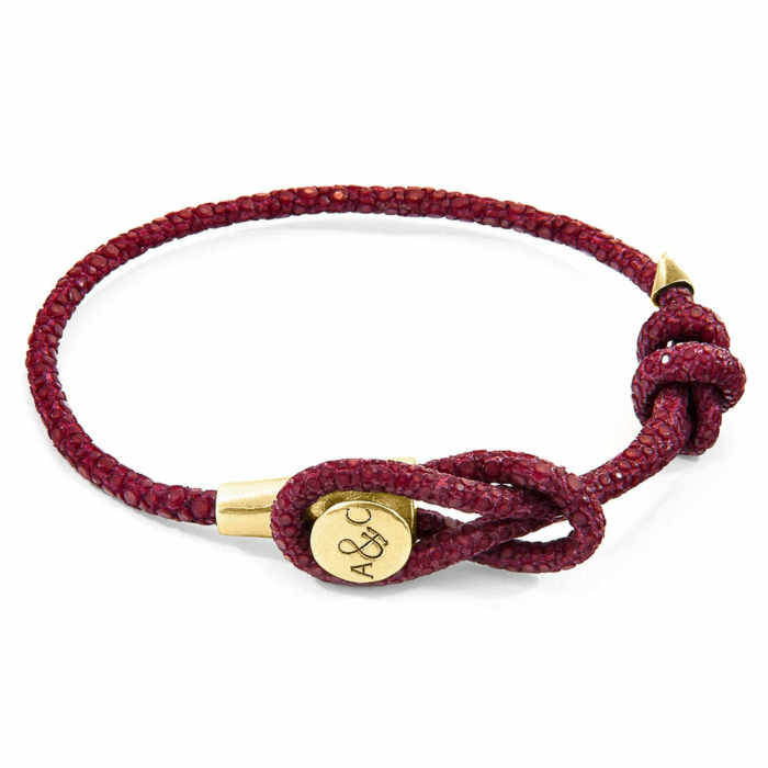 Bordeaux Red Dundee 9ct Yellow Gold and Stingray Leather Bracelet