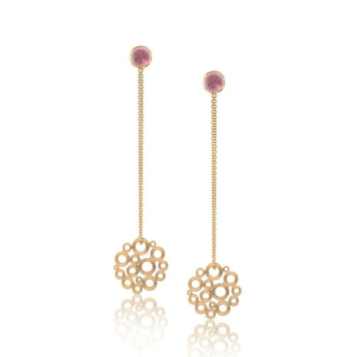 Pink Tourmaline Honeycomb Earrings