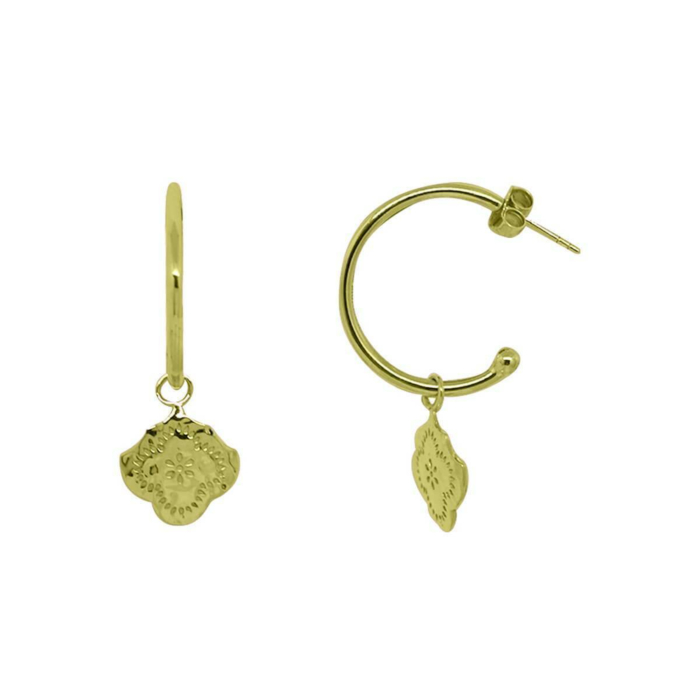 Gold Flower Medium Hoop Earrings