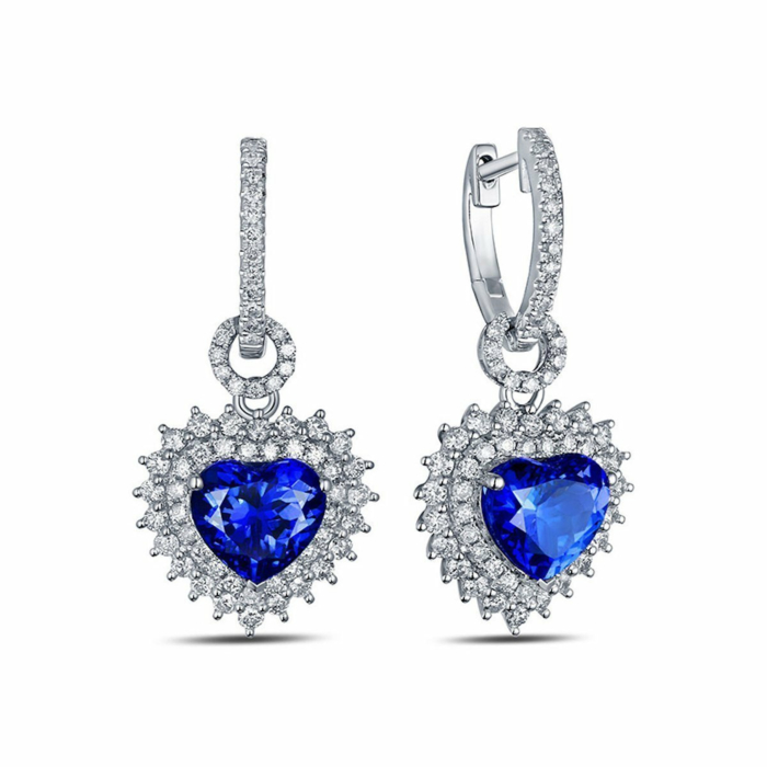 Heart Tanzanite Diamond Earrings
