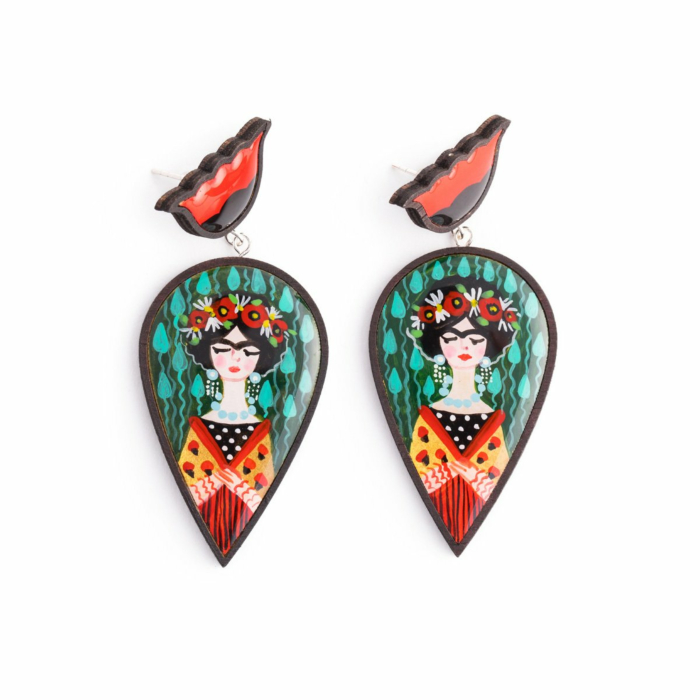 Frida Inspired Wooden Earrings