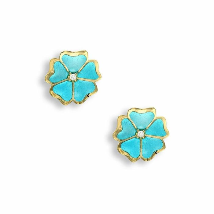 18kt Gold Flower Turquoise Stud Earrings