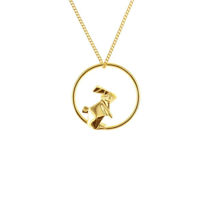 Sterling Silver & Gold Plate Rabbit Circle Origami Necklace