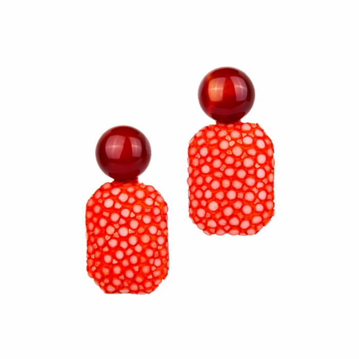 Gracy Stingray Leather Earrings With Red Carnelian