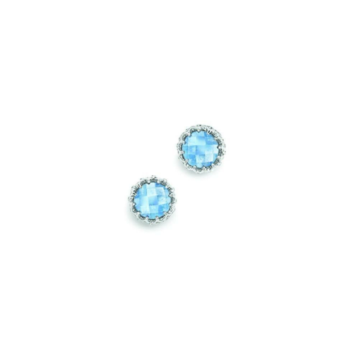 Bloomsbury White Gold Blue Topaz Coronation Stud Earrings