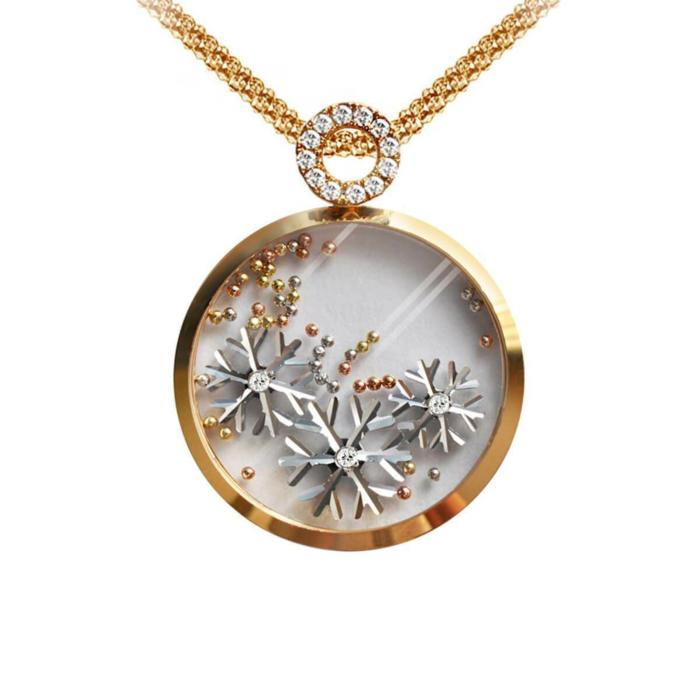 White Gold & Yellow Gold Snowflake Pendant | Chekotin Jewellery