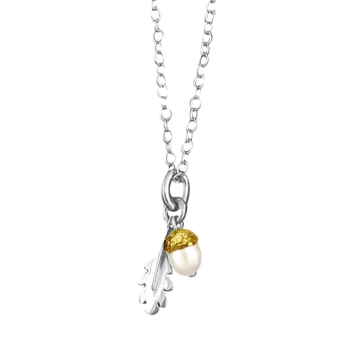 Sterling Silver & Gold Vermeil Small Acorn Pendant Necklace