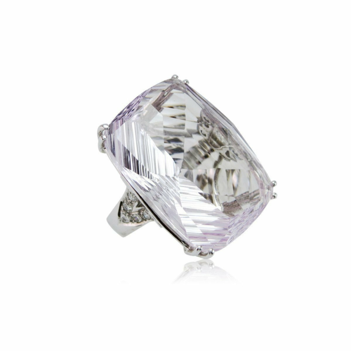 Fire and Ice Fancy-cut Rectangular Cushion Pink Amethyst Ring