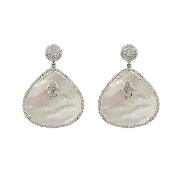 Sterling Silver Hamsa White Mother Of Pearl Teardrop Earrings