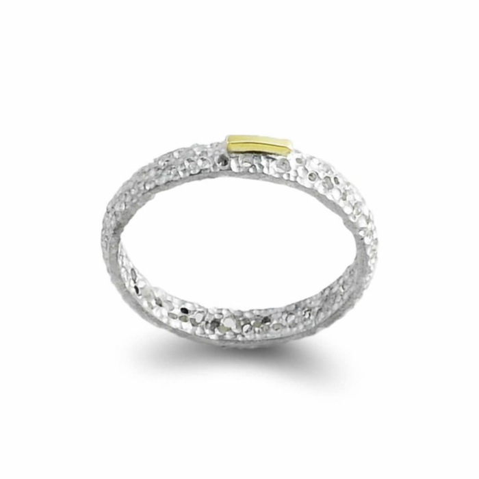 Sterling Silver & 14kt Gold Classical Ring With Single Accent