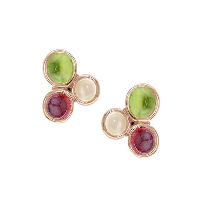 9kt Rose Gold Multi-Gem Earrings