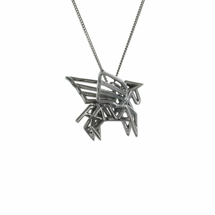 Black Silver Frame Pegaze Origami Necklace