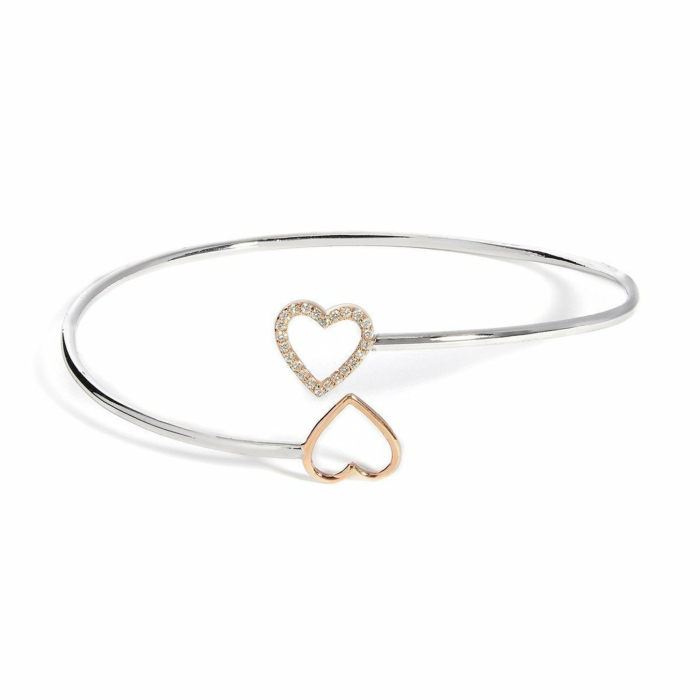 Yellow Gold & Sterling Silver Open Heart Bangle | Kaizarin