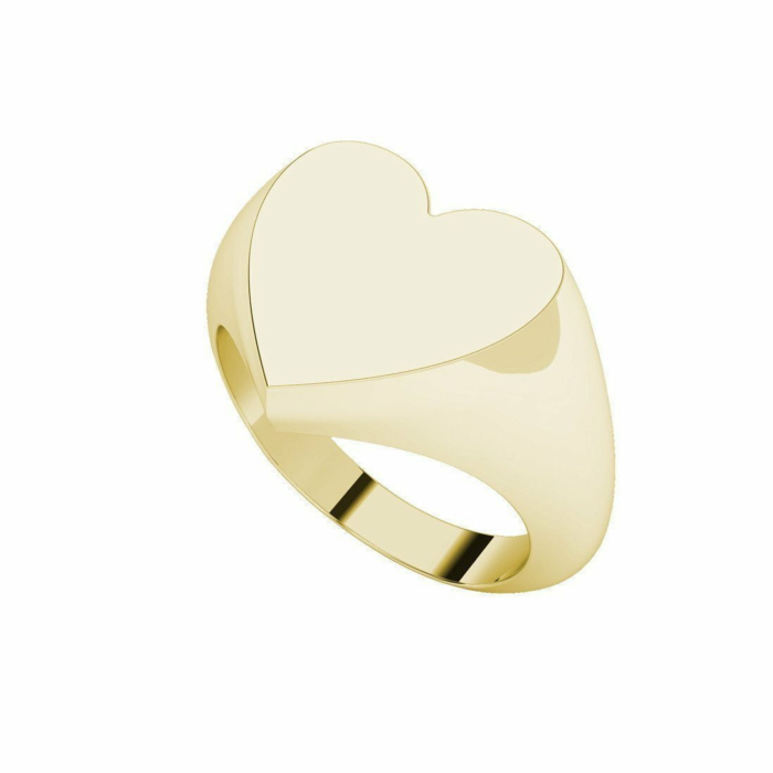 9kt Yellow Gold Heart Signet Ring