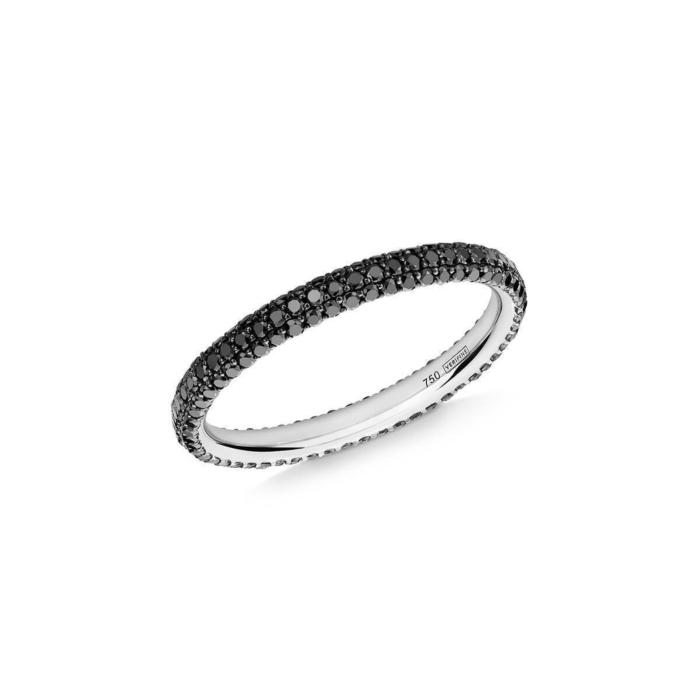 Gemopoli 3 Row Black Diamond Ring In White Gold