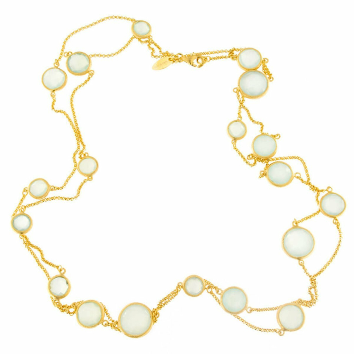 Yellow Gold Plated Handcrafted Italian Aqua Chalcedony Long Necklace