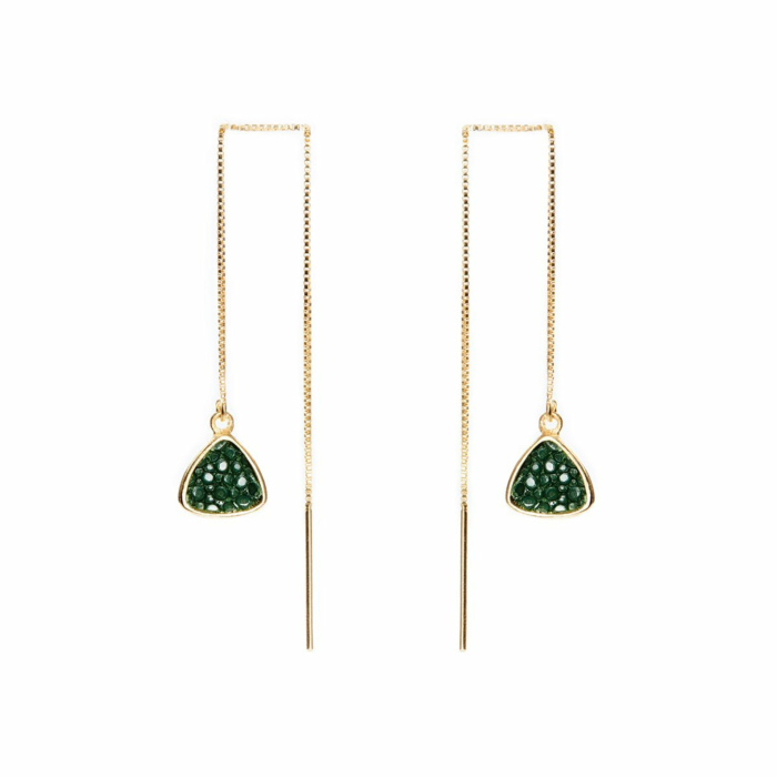 Nana Yellow Gold Plated Silver Earrings With Green Stingray Leather