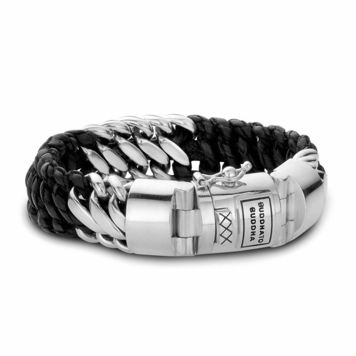 Ben Mix Silver and Leather Bracelet Black by Buddha To Buddha