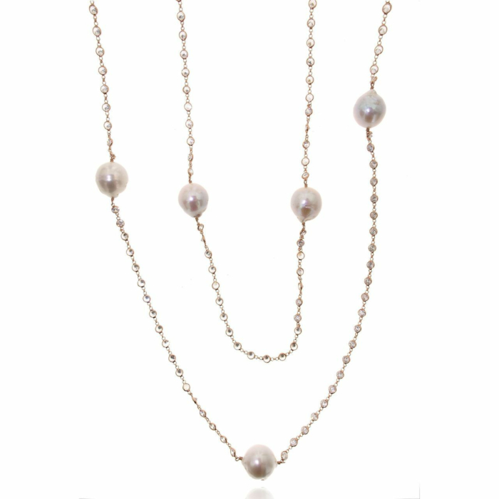 Rose Gold Plated Long Baroque Pearl Necklace
