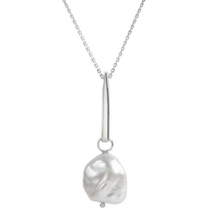 Sterling Silver Baroque Pearl Necklace
